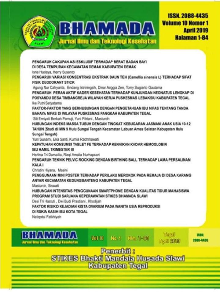 Faktor Risiko Kejadian Kista Ovarium Pada Wanita Usia Reproduksi Di Rskia Kasih Ibu Kota Tegal Bhamada Jurnal Ilmu Dan Teknologi Kesehatan E Journal